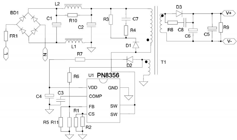 5V1A 充电器电源应用方案的电源原理图