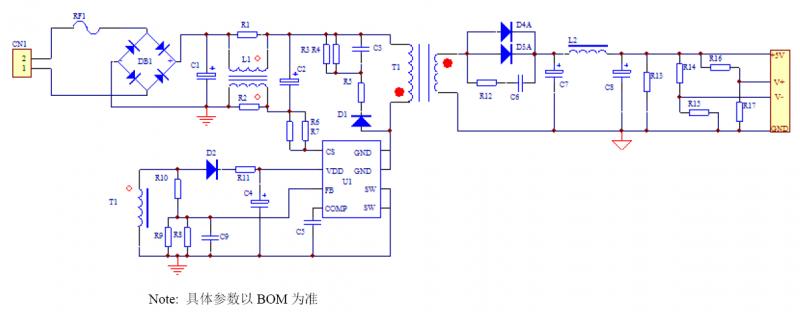 5V1.5A 充电器应用方案-电源原理图
