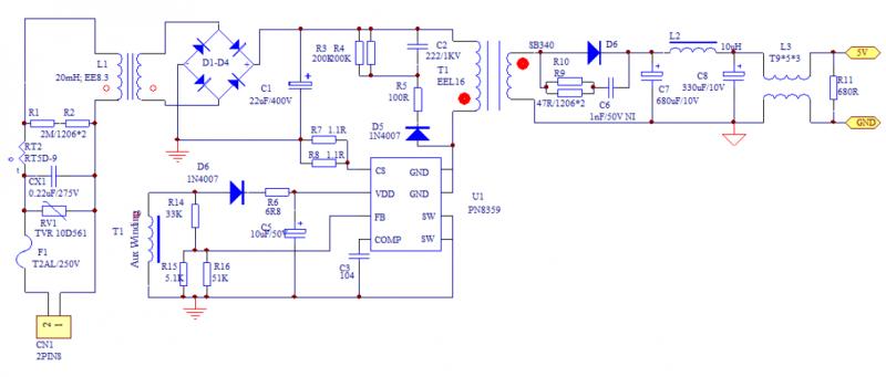 12w 充电器应用方案——电源原理图