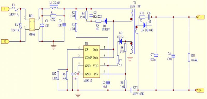 ME8317应用方案电源原理图