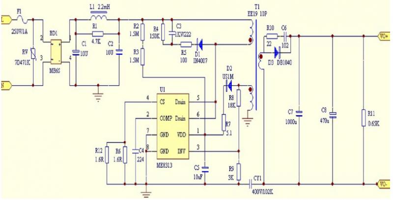 ME8313应用方案电源原理图