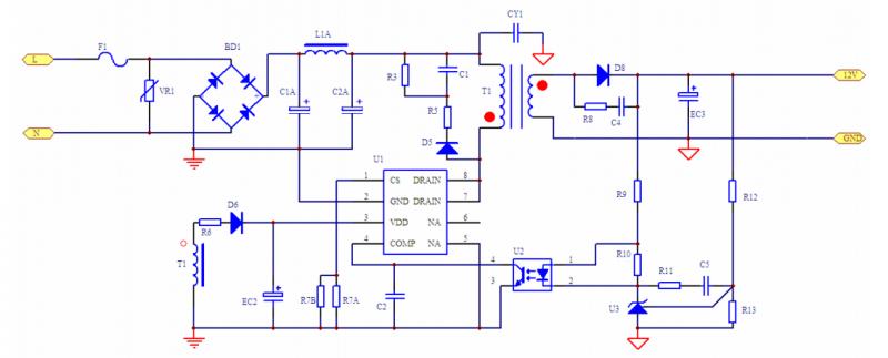 该电路图中R12、R13//R14为反馈分压电阻,并且和U3(TL431)、U2(PC817)组成负反馈电路,确保输出准确电压。为了使系统具有较好的动态响应特性,可以调节R11与C5的值来改善TL431的补偿,使环路具有较高的增益;另外需要调节R9的值,使U2光耦发射二极管端能够把次级信号迅速的反馈到芯片的COMP端进行跟随控制; D5,R3//R4,以及 R5,C1 组成 RCD 箝位电路,用于吸收功率 Mos(集成于 PN8147 内部)漏源端尖锋电压,可以视情况予以减轻。 PN8147 具有内置的软
